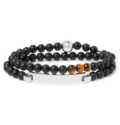Montblanc James Dean Sterling Silver, Onyx and Tiger's Eye Beaded Bracelet