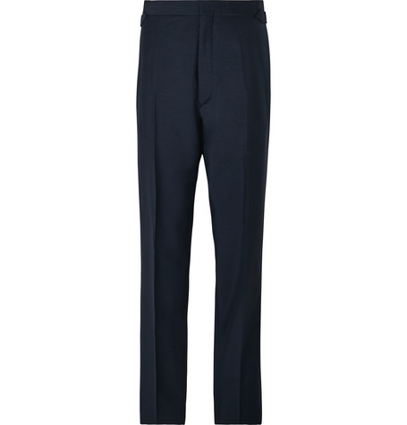 Maximilian Mogg Midnight-Blue Faille-Trimmed Mohair and Wool-Blend Tuxedo Trousers