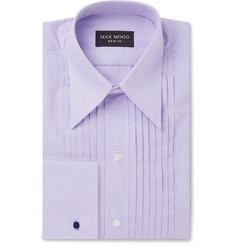 Maximilian Mogg Lilac Slim-Fit Pleated Bib-Front Cotton Tuxedo Shirt