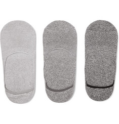Anonymous Ism Three-Pack Mélange Cotton-Blend No-Show Socks