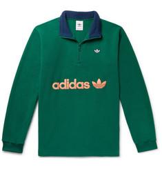 아디다스 Adidas Samstag Colour-Block Logo-Appliqued Fleece Half-Zip Sweatshirt,Green