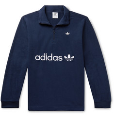 adidas Originals Samstag Logo-Appliquéd Fleece Half-Zip Sweatshirt