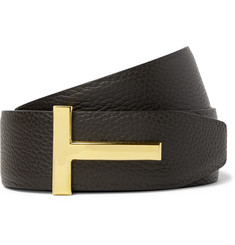 TOM FORD 4cm Dark-Brown and Black Reversible Full-Grain Leather Belt