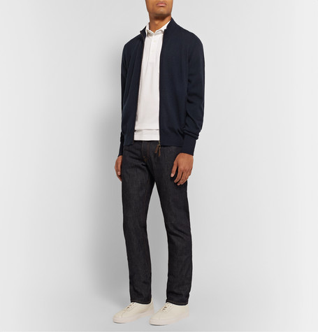 Sid Mashburn Cashmere Zip-up Sweater In Blue