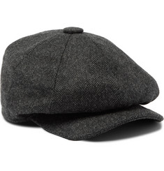 Purdey Townton Herringbone Wool-Tweed Flat Cap