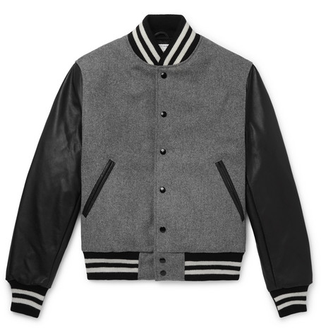 The Albany Wool Blend And Leather Bomber Jacket by Golden Bear