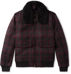 Golden Bear The Pierce Shearling-Trimmed Checked Wool Bomber Jacket