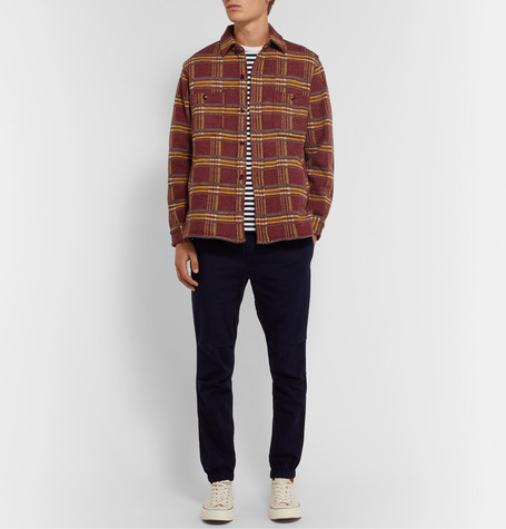 Beams Checked Wool-Flannel Overshirt In Red