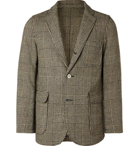Beige Unstructured Prince Of Wales Checked Wool Blend Blazer by Beams Plus