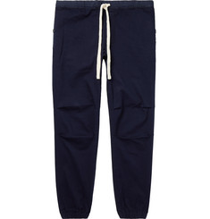 Beams Plus Navy Slim-Fit Tapered Grosgrain-Trimmed Cotton-Blend Twill Drawstring Trousers