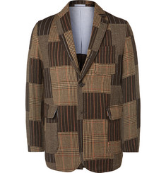 Beams Plus Slim-Fit Patchwork Wool-Blend Jacquard Blazer