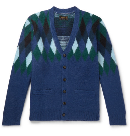 Argyle Jacquard Knit Cardigan by Beams Plus