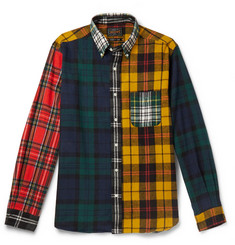 Beams Plus Button-Down Collar Patchwork Checked Cotton-Flannel Shirt