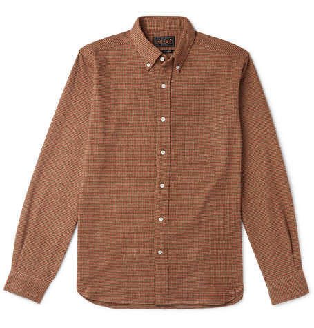 Beams Plus Button-Down Collar Checked Brushed-Cotton Shirt