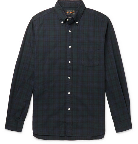 Beams Plus Button-Down Collar Checked Cotton-Twill Shirt