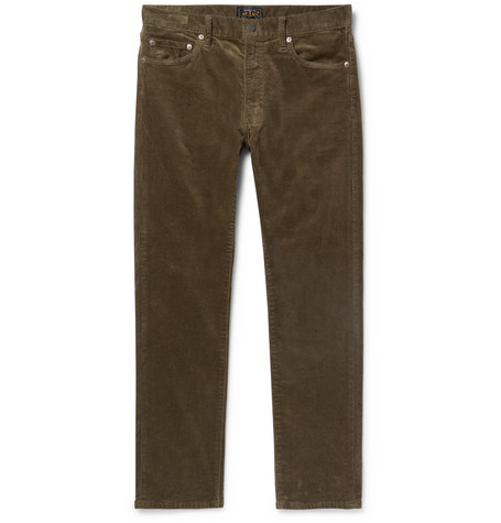 Slim Fit Tapered Cotton Blend Corduroy Trousers by Beams Plus