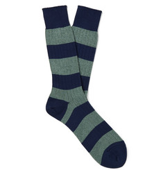 Mr P. Striped Mélange Cotton-Blend Socks