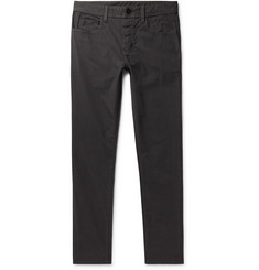 James Perse Dark-Grey Slim-Fit Pigment-Dyed Stretch-Cotton Trousers