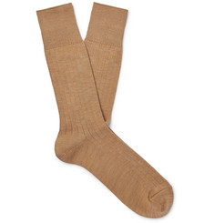Mr P. Ribbed Cotton-Blend Socks