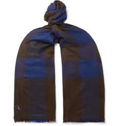 Anderson & Sheppard Fringed Checked Cashmere Scarf