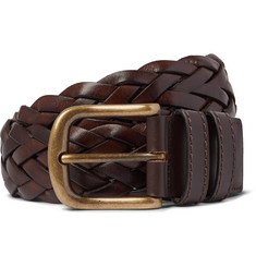 Anderson & Sheppard 3.5cm Woven Leather Belt