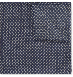 Anderson & Sheppard Polka-Dot Wool and Silk-Blend Pocket Square