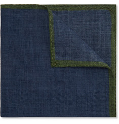 Anderson & Sheppard Contrast-Tipped Wool Pocket Square