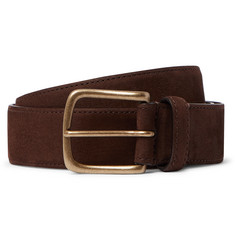 Anderson & Sheppard 3.5cm Dark-Brown Suede Belt