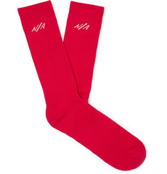 N/A Logo-Embroidered Ribbed Pima Cotton-Blend Socks
