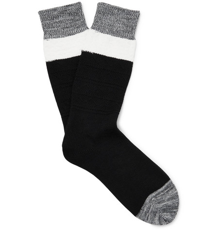 N/A Colour-Block Stretch Cotton-Blend Socks
