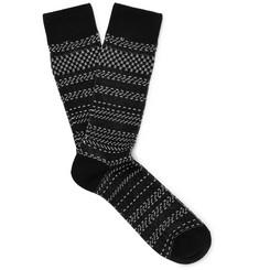 Striped Birdseye Stretch Cotton-blend Socks - Black