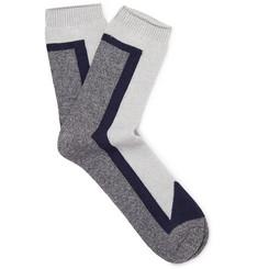 Colour-block Mélange Stretch Cotton-blend Socks - Gray