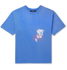 Printed Cotton-jersey T-shirt - Blue
