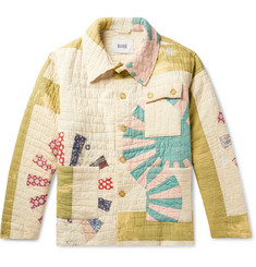 BODE Patchwork Crinkled-Cotton Shirt Jacket