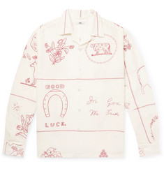 BODE Embroidered Linen and Cotton-Blend Shirt