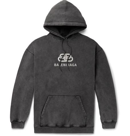 Balenciaga – Oversized Logo-print Washed Loopback Cotton-jersey Hoodie – Black