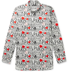 Balenciaga Oversized Button-Down Collar Printed Cotton-Poplin Shirt