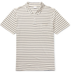 Onia Eric Striped Cotton-Blend Jersey Polo Shirt