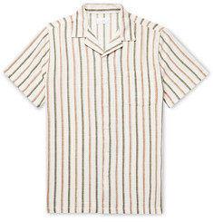 Onia Vacation Camp-Collar Striped Cotton Shirt