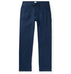 Onia Navy Collin Slub Linen Drawstring Trousers