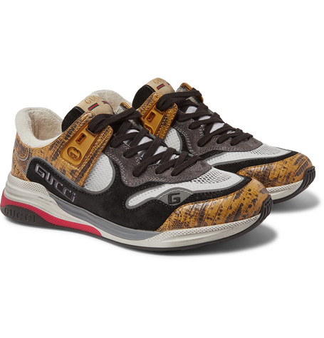 Gucci Sneakers ULTRAPACE DISTRESSED SUEDE, MESH AND SNAKE-EFFECT LEATHER SNEAKERS