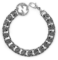 Gucci Logo-Detailed Burnished Sterling Silver Bracelet