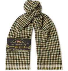Gucci - Embellished Fringed Houndstooth Wool and Cashmere-Blend Scarf