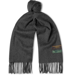 Gucci Fringed Mélange Wool and Cashmere-Blend Scarf