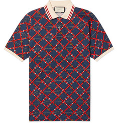Gucci Slim-Fit Printed Stretch-Cotton Piqué Polo Shirt