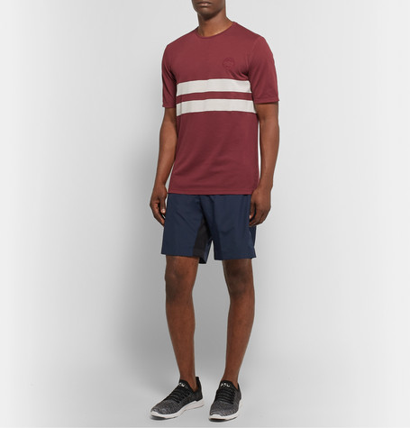 Iffley Road Cambrian Striped Drirelease PiquÉ T-Shirt In Burgundy
