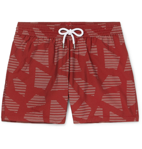 Modernist Slim Fit Short Length Printed Swim Shorts by Frescobol Carioca