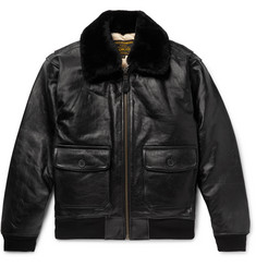 Schott - G-1 Shearling-Trimmed Leather Bomber Jacket