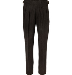 Rubinacci Manny Tapered Pleated Herringbone Stretch Wool and Cashmere-Blend Twill Trousers