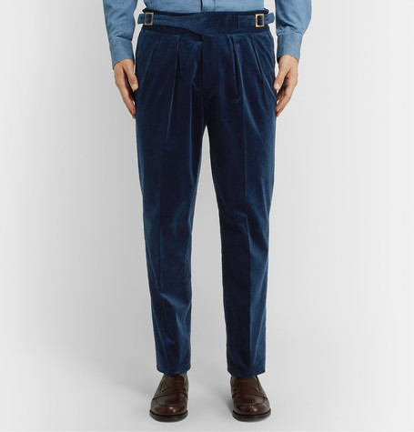 Rubinacci Manny Pleated Cotton Blend Corduroy Trousers In